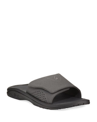 OLUKAI Men'S Nalu Grip-Strap Slide Sandals, Black in Black/ Black