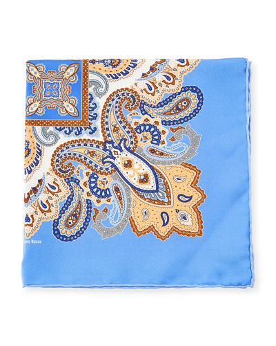 Paisley-Print Silk Pocket Square