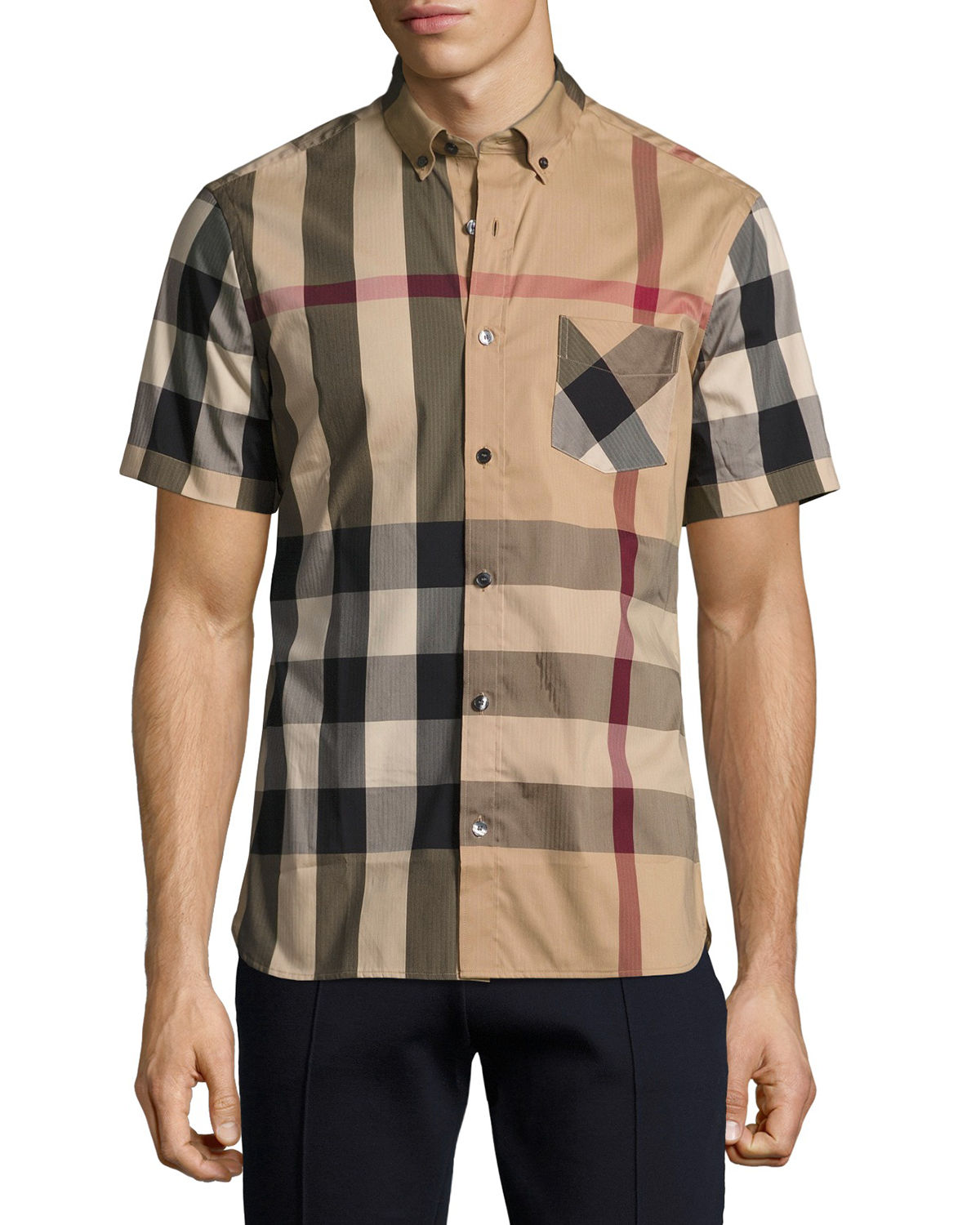 cc6b95a2676f3 Burberry Thornaby Short-Sleeve Check Sport Shirt