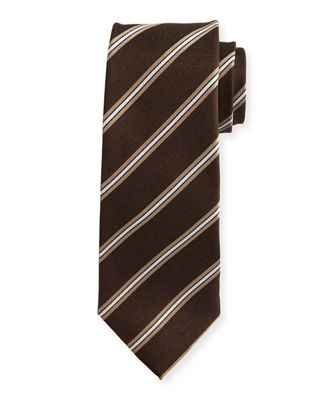 Isaia Narrow-Stripe Silk Tie