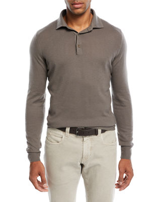 Image 1 of 2: Superlight Baby Cashmere Long-Sleeve Polo Shirt