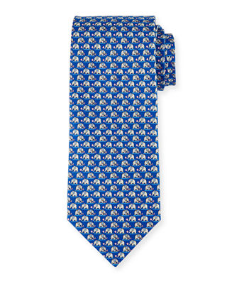 Salvatore Ferragamo Elephant & Cotton Candy Silk Tie