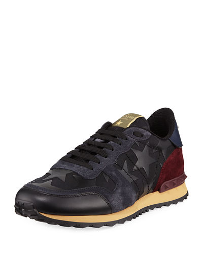 Valentino Garavani Men's Rockrunner Camustars Leather Trainer