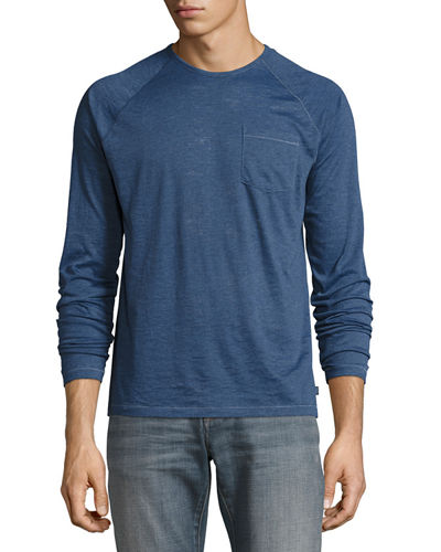 Long-Sleeve Raglan Burnout T-Shirt