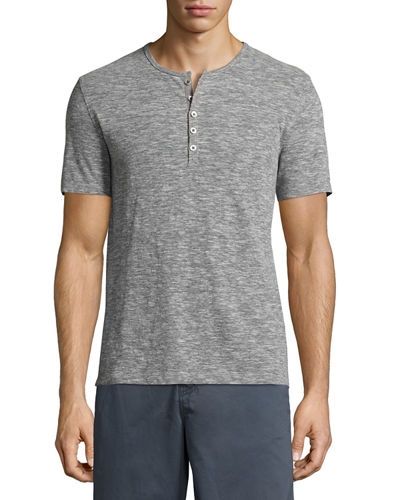 John Varvatos Star USA Mélange Short-Sleeve Henley T-Shirt