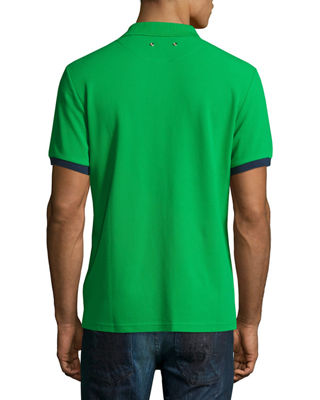 Image 3 of 3: Color-Band Piqué Polo Shirt