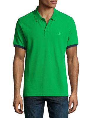 Image 1 of 3: Color-Band Piqué Polo Shirt