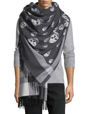 Large Skull Wool-Cashmere Shawl