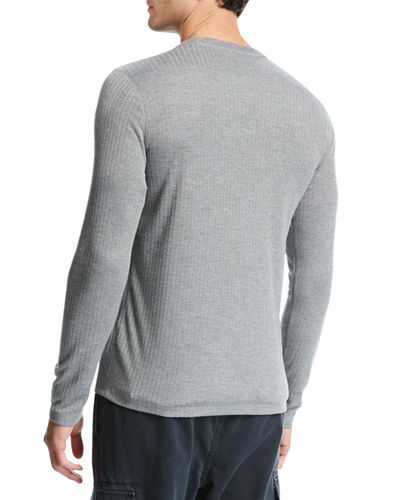 Flat-Back Ribbed Henley T-Shirt