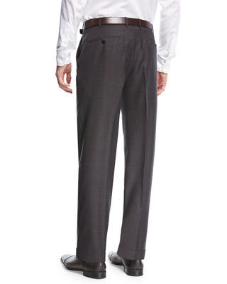 Parker Flat-Front Grid-Effect Sharkskin Trousers