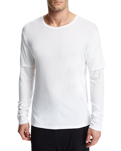 Vince Double-Layer Cotton-Modal Long-Sleeve T-Shirt and Matching