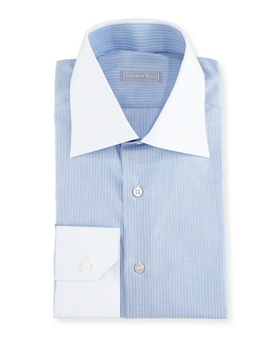 Contrast Collar/Cuff Striped Dress Shirt, Blue