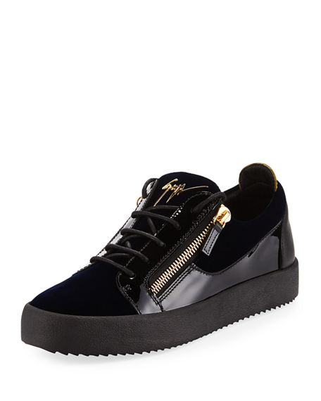 sale uk autumn shoes the best Men's Velvet & Patent Leather Low-Top Sneakers