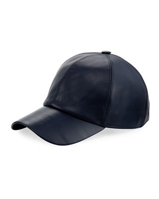 Image 1 of 2: Calf Leather Baseball Cap