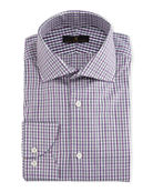 Ike Behar Gold Label Tattersall Cotton-Cashmere Dress Shirt