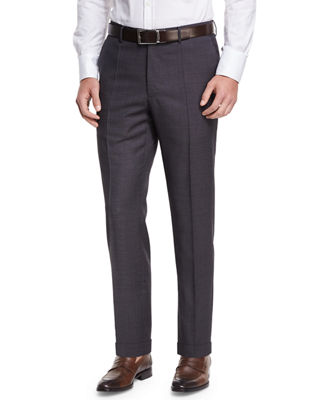 Image 1 of 3: Micro-Check Wool Straight-Leg Trousers