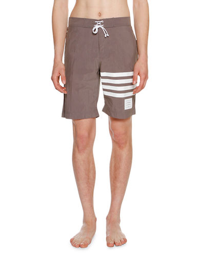 Thom Browne 4-Bar Striped Swim Trunks