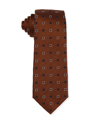 Isaia Diamond-Box Silk-Cotton Tie