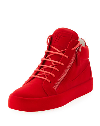 Men's Flocked Leather Mid-Top Sneakers