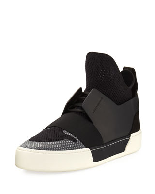Men's Multi-Material High-Top Trainer Sneaker