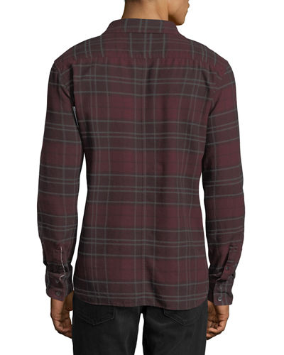 Men's Bellowed Plaid Herringbone Shirt