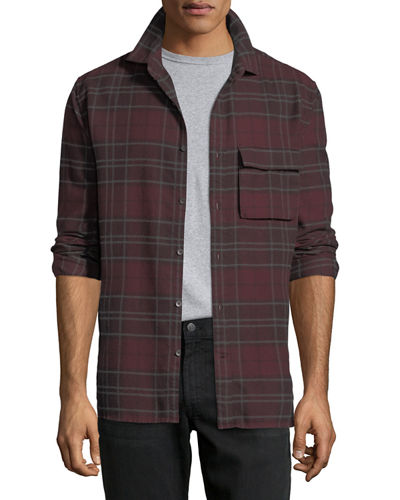 Bellowed Plaid Herringbone Shirt