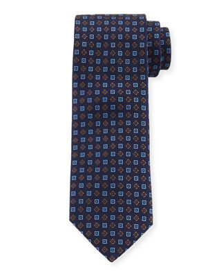 Square-Pattern Silk Tie