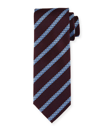 Cable-Stripe Silk Tie