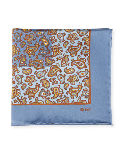 Brioni Paisley Pine Silk Pocket Square