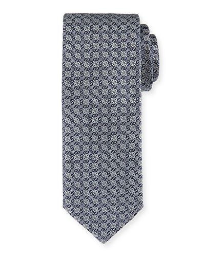 Brioni Silk Lattice-Pattern Tie