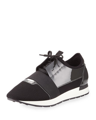 Men's Patent Race Runner Mesh & Leather Sneaker