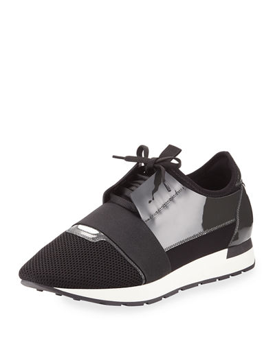 Balenciaga Men's Patent Race Runner Mesh & Leather