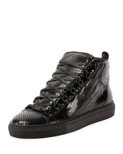 Balenciaga Men's Arena Faux-Python Leather High-Top Sneaker