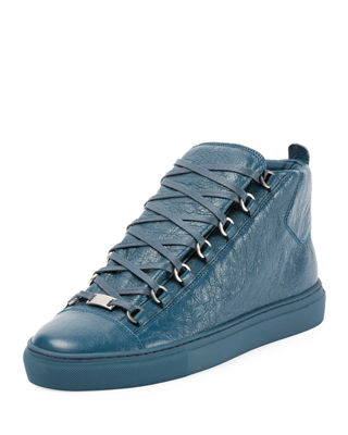 Balenciaga Men's Arena Leather Mid-Top Sneakers