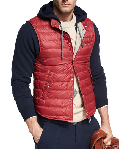 Brunello Cucinelli Quilted Nylon Snap Vest and Matching