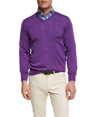 Image 1 of 2: Merino Wool-Silk V-Neck Sweater