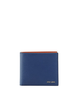 Image 1 of 2: Saffiano Leather Bi-Fold Wallet