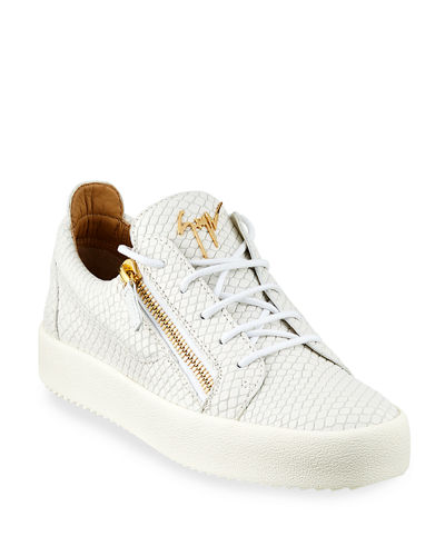 Men's London Double-Zip Leather Low-Top Sneakers