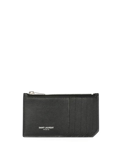 Saint Laurent Fragment Leather Zip Card Case