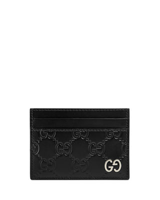 Gg-Debossed Leather Cardholder in Black