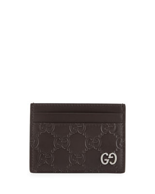 Gg Leather Credit Card Holder, Brown Gucci Signature