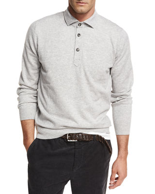 Image 1 of 3: Cashmere Long-Sleeve Polo Sweater