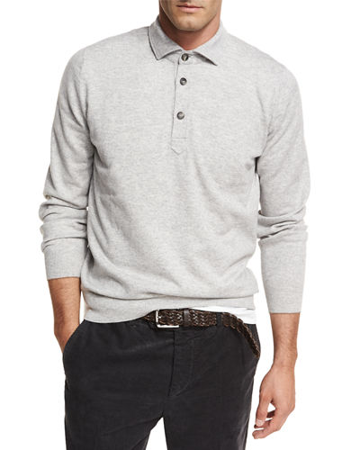 Brunello Cucinelli Cashmere Long-Sleeve Polo Sweater