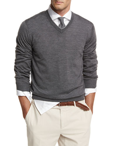 Brunello Cucinelli Fine-Gauge Tipped V-Neck Sweater