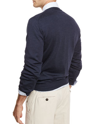 Fine-Gauge Tipped V-Neck Sweater