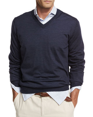 Image 1 of 2: Fine-Gauge Tipped V-Neck Sweater