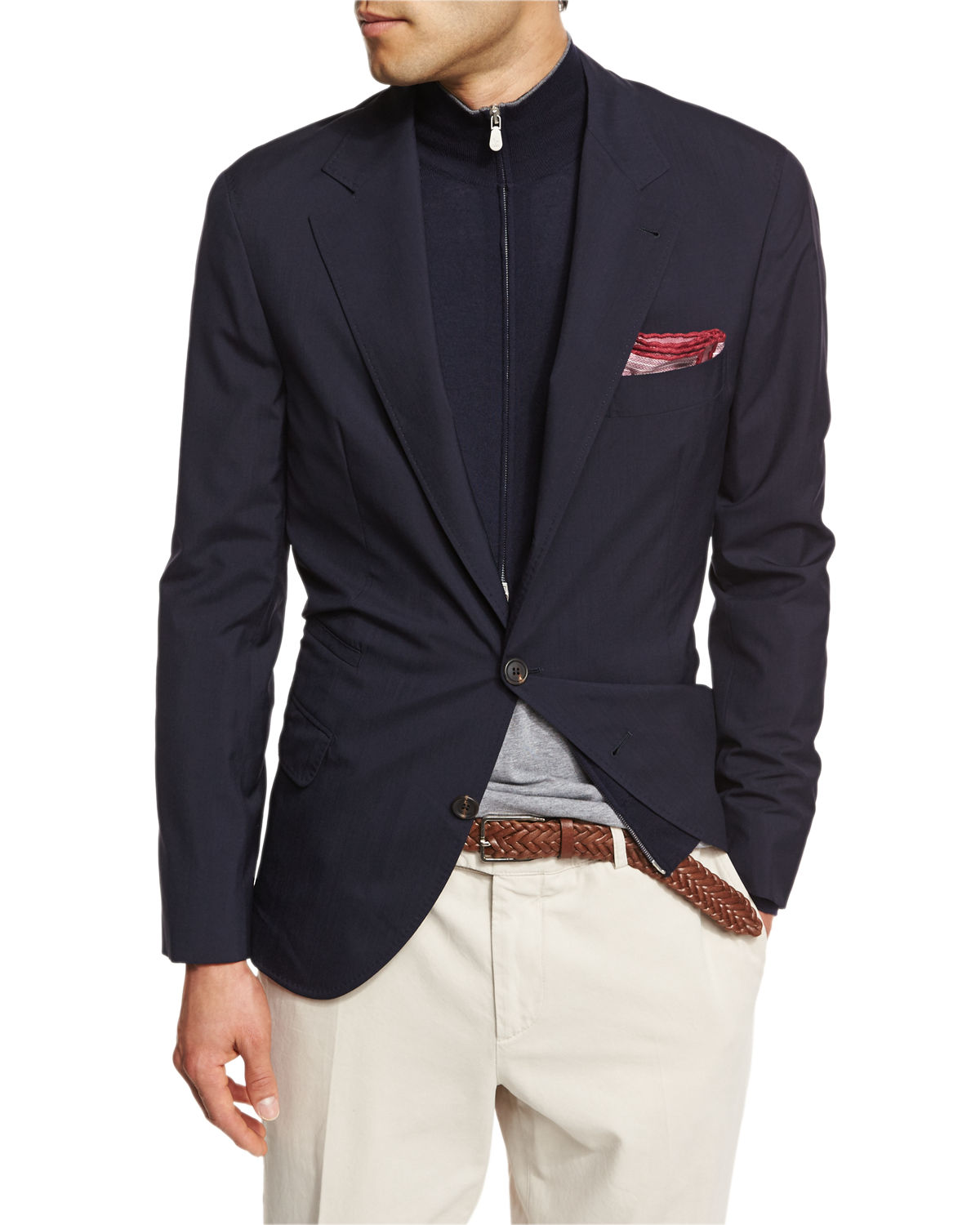 3b7d82b2 Brunello Cucinelli Three-Button Travel Blazer | Neiman Marcus