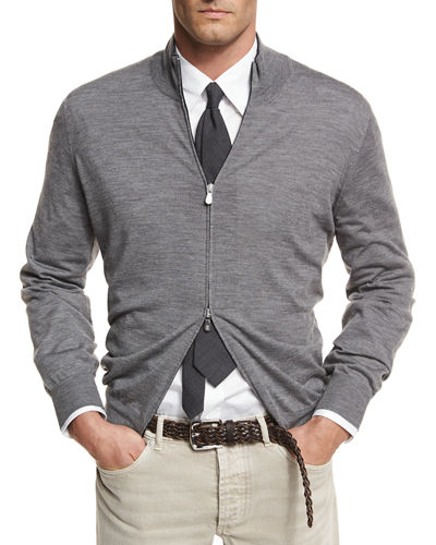 Brunello Cucinelli Fine-Gauge Full-Zip Sweater