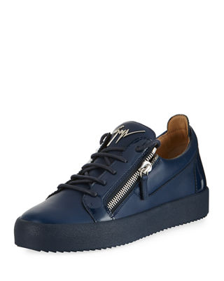 Giuseppe Zanotti Men's London Double-Zip Leather Low-Top Sneaker