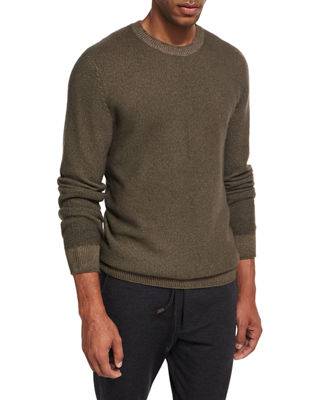 Waffle-Knit Crewneck Sweater, Olive (Light Green)
